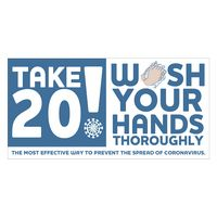 """586252940-183 - Take 20! Wash Your Hands Sticker (4"""" x 8"""") - thumbnail"""