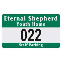"715932481-183 - Rectangle White Reflective Numbered Outside Parking Permit Decal (2 3/4""x4 3/4"") - thumbnail"
