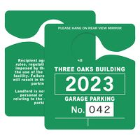 """725932451-183 - Plastic 10 pt. Numbered Hanging Parking Permit (3""""x3 1/2"""") - thumbnail"""