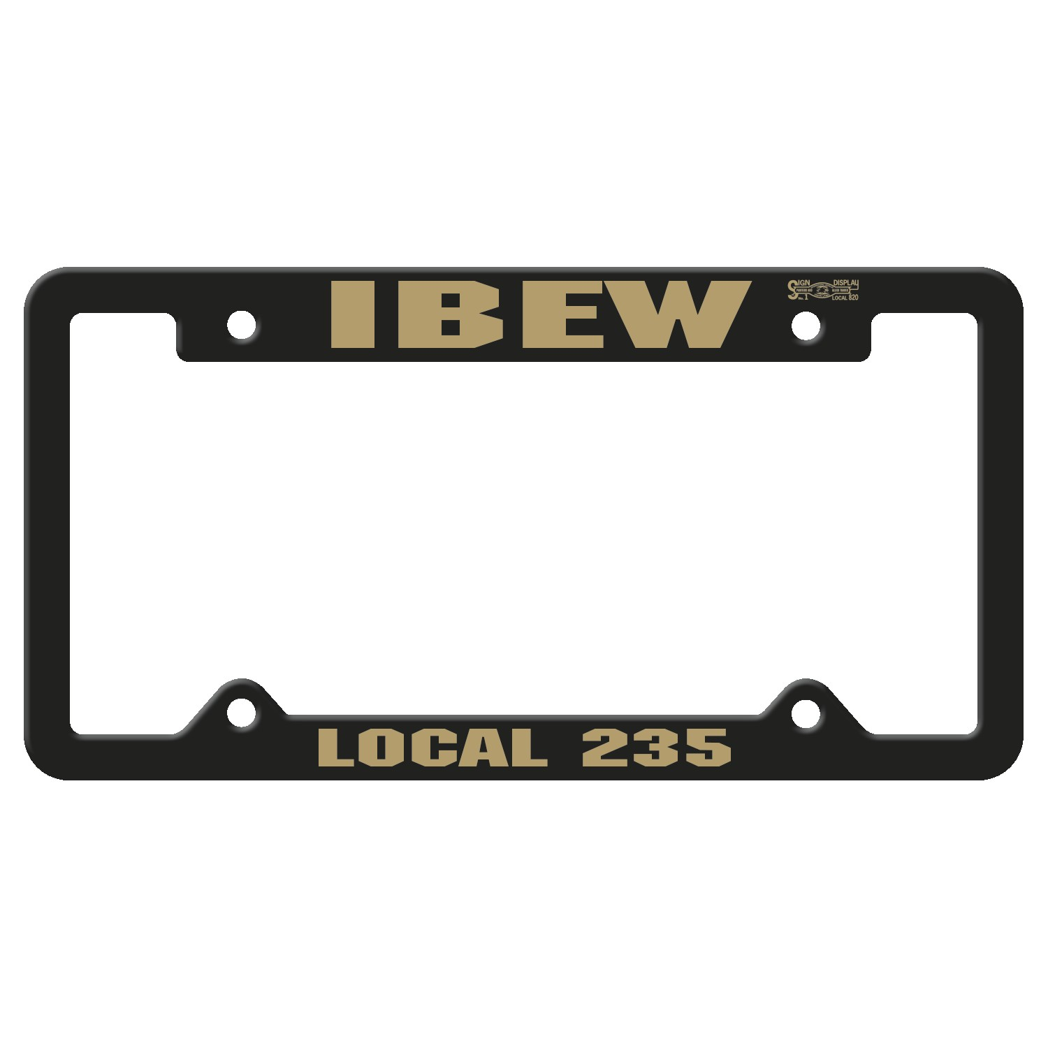 765880763-183 - Black Auto License Frame w/ 4 Holes & Large Top Panel - thumbnail
