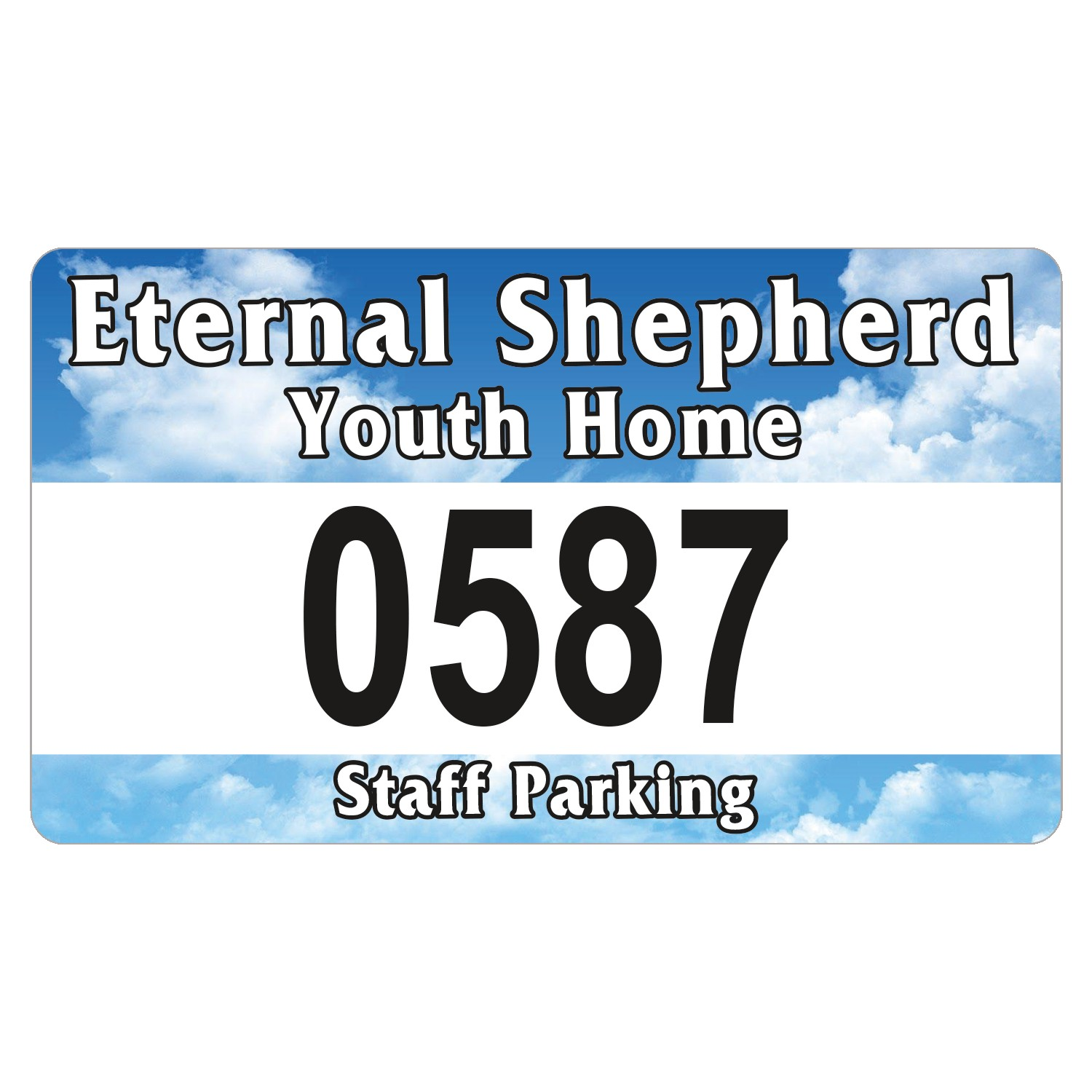 "945932494-183 - Rectangle White Vinyl Full Color Numbered Outside Parking Permit Decal (2 3/4""x4 3/4"") - thumbnail"