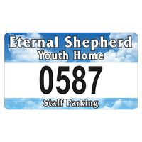 """945932494-183 - Rectangle White Vinyl Full Color Numbered Outside Parking Permit Decal (2 3/4""""x4 3/4"""") - thumbnail"""