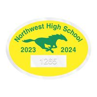 """955932464-183 - Oval Clear Polyester Numbered Inside Parking Permit Decal (2""""x2 3/4"""") - thumbnail"""