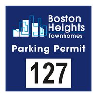 """985932479-183 - Square White Reflective Numbered Outside Parking Permit Decal (3""""x3"""") - thumbnail"""