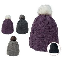 565483572-814 - Beanie With Faux Fur Pom And Plush Lining - thumbnail