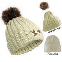 576089724-814 - Cable Knit Beanie With Removable Pom - thumbnail