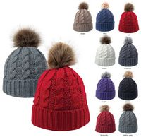 765483570-814 - Cable Knit Beanie With Faux Fur Pom - thumbnail