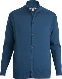 516516989-822 - Rib Collar Button-Front Cardigan with Pockets - thumbnail