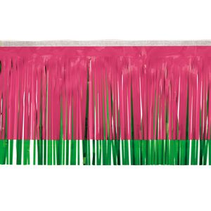 """166197663-108 - Victory Corps Standard Cerise & Grass Green Fringe (15"""") - thumbnail"""
