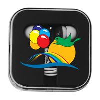974709057-134 - Colorful Ear Buds with Matching Square Case - thumbnail